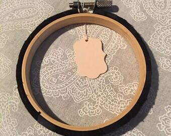 Black batik wrapped hoop