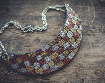 Statement necklace Bib necklace mosaic necklace silver gold copper necklace polymer clay necklace bright necklace choker necklace