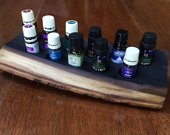 Essential oils holder for 11 vials, rustic, poplar, live edge with bark (#7)