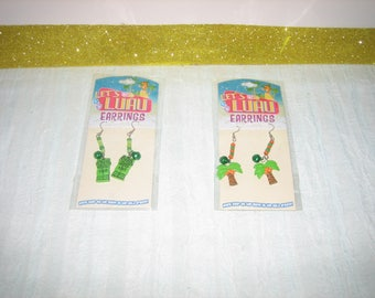 Let's Luau Earrings Pierced - Vintage Tropical Earrings - Palm Tree Earrings - Tribal Earrings - Green Luau Earrings