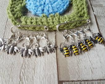 Stitch markers,  bee stitch markers, bee progress keepers, knitting stitch markers, crochet stitch markers, bee sock knitting marker