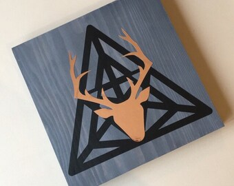 Geometric deer wooden block ornament