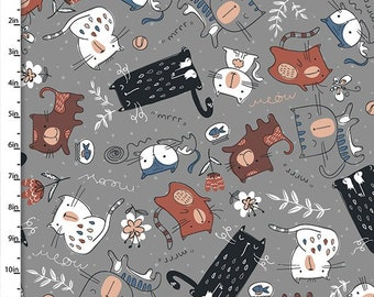 Cat's Meow - 12456-Grey - from Quilter's Palette