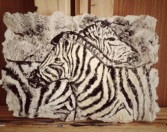 Zebra painted on hand-made paper