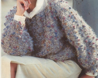 vintage knitting patterns, women's, ladies tweed knit jumper, easy quick knit pattern, chunky knit, instant download, PDF