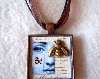 "Collage Pendant Necklace No.16 - ""Be"""