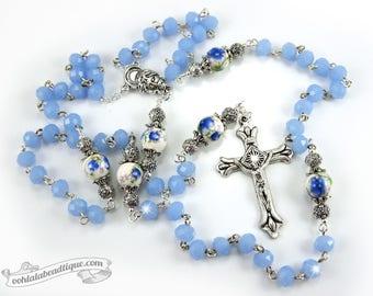 Blue Jade Rosary confirmation gift catholic rosary boys rosaries blue rosary communion rosaries baptism rosary girls rosaries ladies rosary