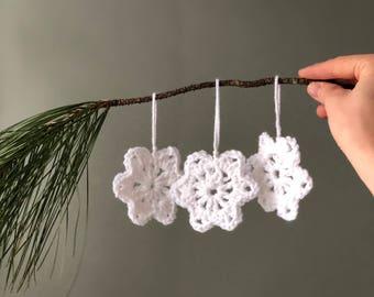 Stella Ornament, Crochet Christmas Tree Ornament, White Star Christmas Ornament