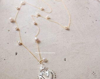 CUORE SACRO Necklace-925 sterling silver 18K gold plated with Cuore Sacro pendant-chain with freshwater pearls charms