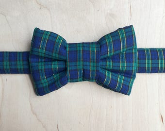 Holiday Plaid Bow Tie For Cats - Blackwatch Plaid