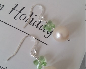 Freshwater White Pearl Green Swarovski Crystal Butterfly Earrings