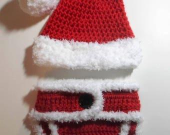 Crochet (0-3 mo) Baby Santa Suit, Infant Santa Hat and Adjustable Diaper Cover Set, Christmas Photo Prop