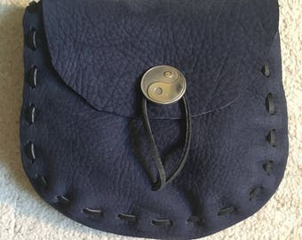 Soft Navy Blue Leather Medieval Style Pouch (yin-yang)