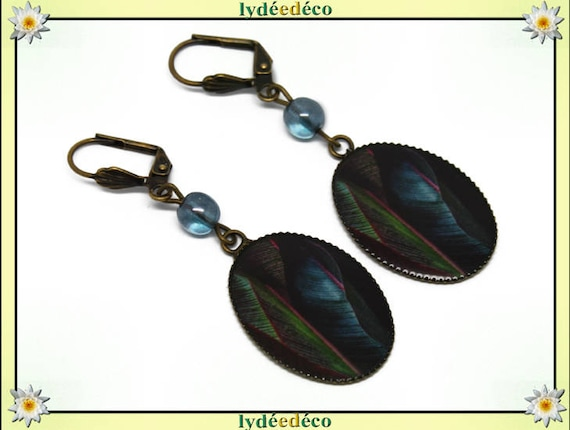 Earrings vintage retro feather Blue Green Pink resin bronze beads glass pendants 18x25mm