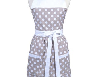 Retro Women's Apron in Gray and White Quarter Polka Dot - Gift for Mother, Bride, Birthday, Christmas or Everyday for the Kitchen Cook