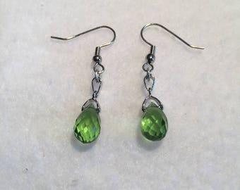 Homemade green drop earrings