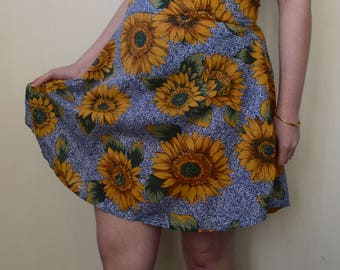 Blue and sunflower print cotton skirt- S/M