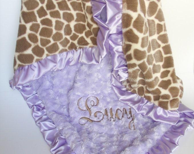 Lavender Swirl and Giraffe Minky Blanket Ruffled