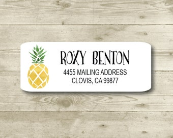 Pineapple, Return Address Label, Custom, MATTE, Fruit, Festive, Watercolor style