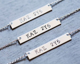 Supernatural Necklace, Impala License Plate, Supernatural Jewelry, Sam and Dean Winchester, Supernatural Tv Show Fandom Jewelry Bar Necklace