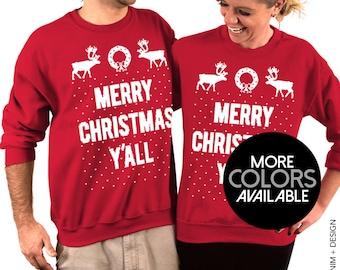 MERRY CHRISTMAS Y'ALL - Unisex Crew Neck Sweatshirt for Men & Women, Ugly Christmas Sweater, Tacky, Funny Holiday Sweatshirt
