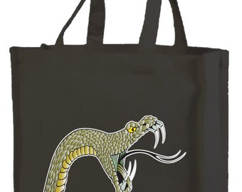 Hissed Off Snake Cotton Shopping Bag with gusset and long handles, 3 colour options