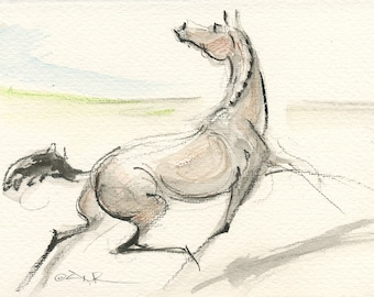 """Equestrian Art, Young Horse, Foal, Watercolor by Anna Noelle Rockwell, """"Yearling Sale"""""""