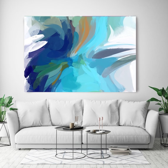"""The Color MovemenT 6, Blue Navy, Abstract Blue Painting Modern Wall Art Painting Canvas Art Print Modern White Blue up to 80"""" by Irena Orlov"""