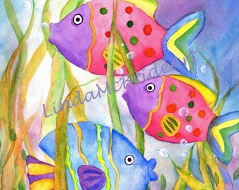 Whimsical Polk-a-dot Fish 3.5x5 Blank Notecard with Envelope