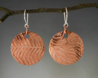 Fern Textured Copper Disc Earrings