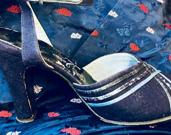 1940s Ankle Strap Heels Blue Wool and Leather Size 6 1/2M Sold AS IS