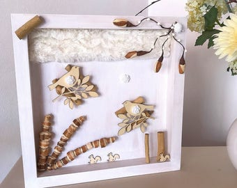 Bird decor wood frame