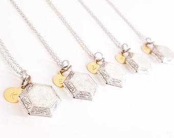 FIVE Antique Silver Locket Necklace - Vintage Style Locket -Bridesmaid Locket- Personalized Necklace -Personalized Bridesmaid Gift - Wedding