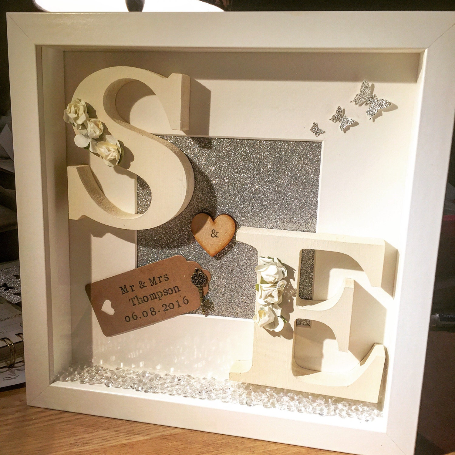 Stunning Wedding Initial Box frame Personalised wedding keepsake ...