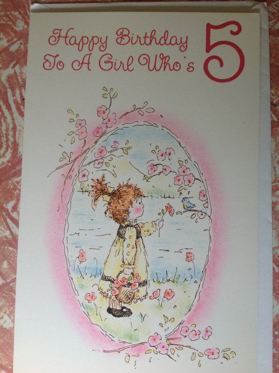 Items similar to for a girl whos 5 card happy birthday little items similar to for a girl whos 5 card happy birthday little girl picking flowers with a basket by a lake and a little blue bird five year old on etsy bookmarktalkfo Image collections