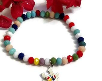 Autism Awareness Stretch Puzzle Bracelet - Autistic Asperger's ASD Jewelry
