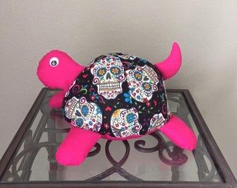 Sugar Skull Handmade Stuffed Turtle