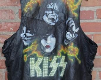 Vintage KISS Hand Painted Leather Vest XL