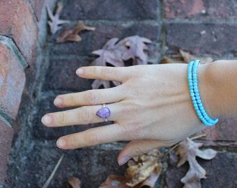 Sky Blue Turquoise double wrap bracelet, Choker Necklace. December Birthstone wrap bracelet, Throat Chakra Choker, unique jewelry