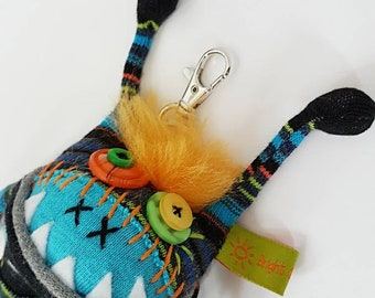 """Keychain / purse/ backpack dangle / 5"""" Sqwaggle monster"""