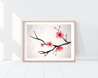 Cherry Blossom Watercolor Painting Printable Art Wall Art Instant Download Digital Download Home Decor Flower Painting Cherry Blossom Print