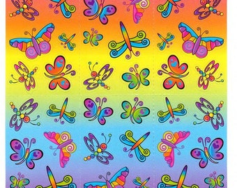 Lisa Frank Rainbow Butterflies Sticker Sheet