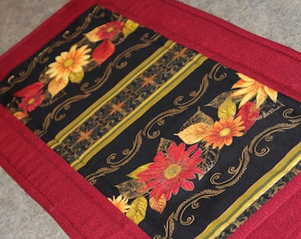 Burgundy Gold Floral Flowers  24 X 12  Table Runner Topper
