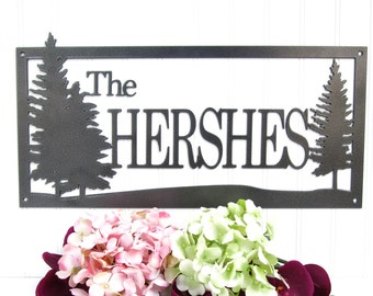 Custom Outdoor Family Last Name Metal Sign - Silver, 20x10, Pine Tree, House Sign, Personalized Gift, Metal Wall Art