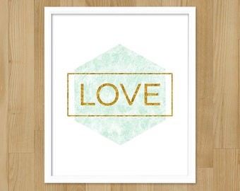 Gold Love Print / Printable Art / Faux Gold Foil Print / Abstract Watercolor Art / Hexagon Print / Geometric Printable Love / Digital Print