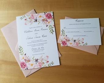 Blush rose wedding invitation