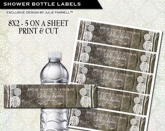 Water bottle labels DIY Print and Cut - personalized wedding favor  Bridal shower favor Rustic Wood Tree Design