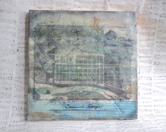 Eclectic Style, Shabby Chic, Folksy, Personalized Map Encaustic Painting: Custom Home Decor