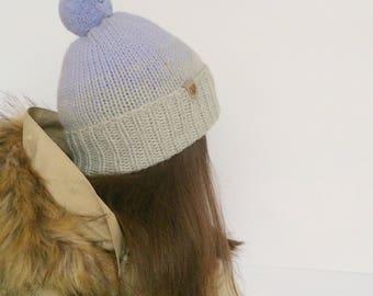 Knit Hat With Pom Pom - Beanie -  lilac pom pom - Woolly Pom Pom Hat - Ombre hat