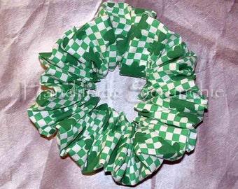 St. Patrick's Day Hair Scrunchie, Fabric Ponytail Holder, Hair Tie, Checkered Clovers